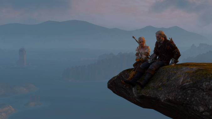Witcher 3 sitting on cliff